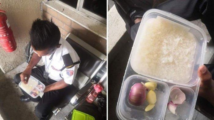 Baru Dibagikan Fotonya Langsung Viral, Satpam Ini Makan Nasi Lauk Bawang, Gajinya Dikirim ke Kampung