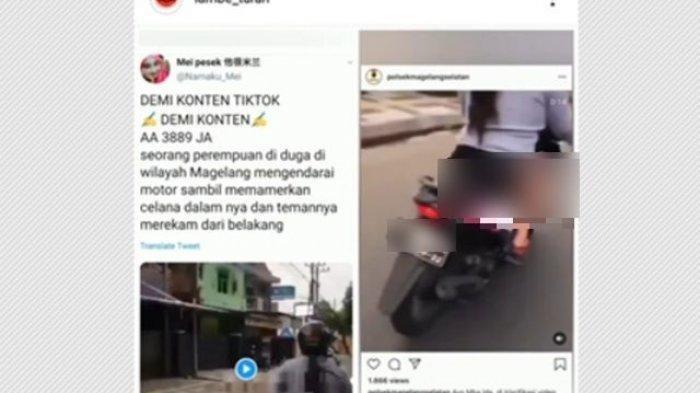 Gambar tangkapan layar dari video pengendara sepeda motor yang pamer celana dalam saat berkendara di akun instagram @lambe_turah dan @polsekmagelangselatan, Rabu (16/9/2020).
