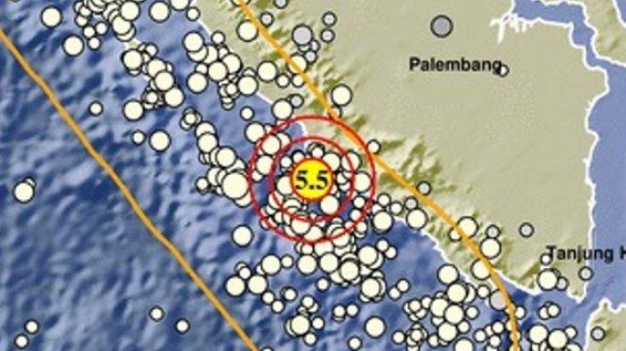 Gempa bumi mengguncang Bengkulu dengan magnitudo 5,5 pada Sabtu (3/7/2021).