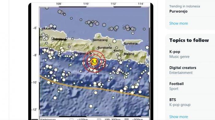 Gempa M 5,3 Selatan Yogyakarta Terasa hingga Purworejo, Kebumen, Cilacap, Patahan di Indo-Australia
