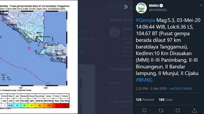 BREAKING NEWS: Gempa 5,3 Magnitudo Guncang Lampung, Tak Berpotensi Tsunami