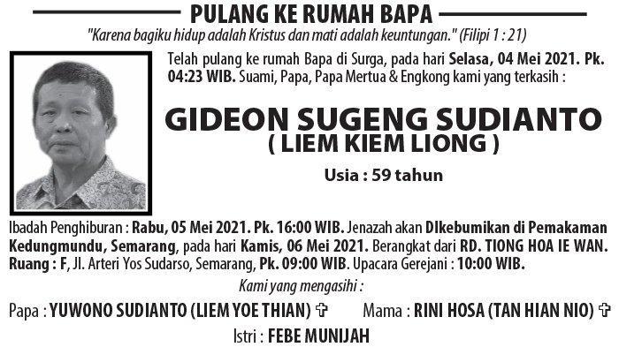 Berita Duka, Gideon Sugeng Sudianto (Liem Kiem Liong) Meninggal Dunia di Semarang