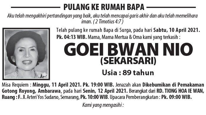 Berita Duka, Goei Bwan Nio (Sekarsari) Meninggal Dunia di Semarang