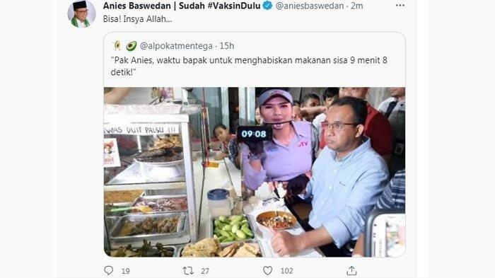 Gubernur DKI Jakarta Anies Baswedan menanggapi twett netizen di media sosial twitter pada Selasa (27/7/2021)