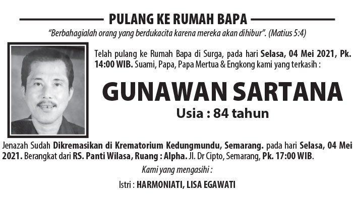 Berita Duka, Gunawan Sartana Meninggal Dunia di Semarang