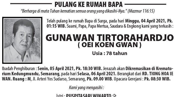 Berita Duka, Gunawan Tirtorahardjo (Oei Koen Gwan) Meninggal di Semarang