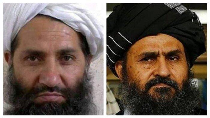 Haibatullah Akhunzada (kiri) dan Mullah Abdul Ghani Baradar.