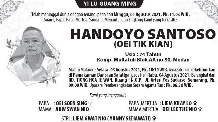 Berita Duka, Handoyo Santoso (Oei Tik Kian) Meninggal Dunia di Semarang