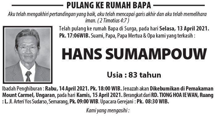 Berita Duka, Hans Sumampouw Meninggal Dunia di Semarang