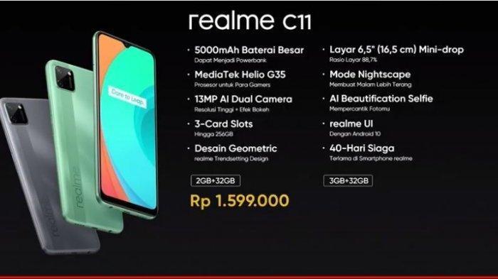 SpesifikasiHP Realme C11, Desain Kamera Kotak Lebih Tampak Modern