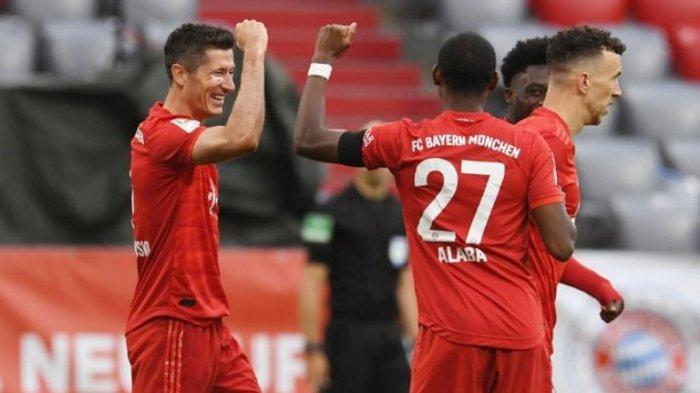 Hasil Liga Jerman, pemain Bayern Munchen merayakan gol ke gawang Eintracht Frankfurt
