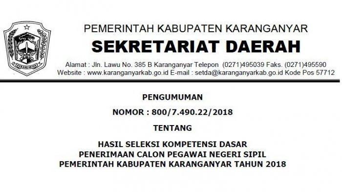 Hasil SKD CPNS 2018 Pemkab Karanganyar: Ada 781 Peserta SKB dan Informasi Bagi Pelamar Jabatan Guru