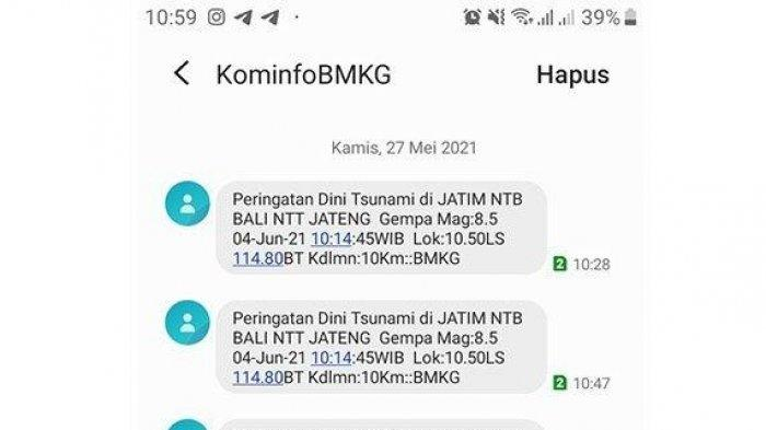 Heboh Beredar SMS Peringatan Dini Gempa Bumi M 8,5 dan Tsunami di Jateng Hingga Jatim, Ini Kata BMKG