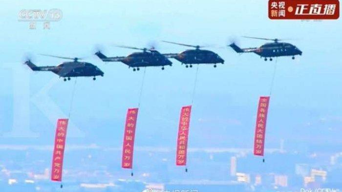 Helikopter Baru Militer China Muncul ke Publik di Perayaan 100 Tahun PKC