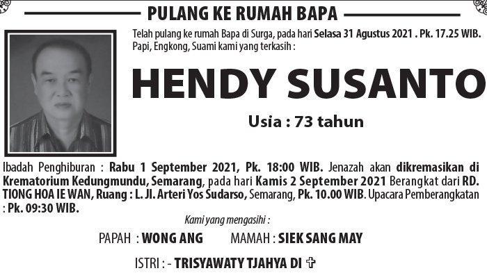 Berita Duka, Hendy Susanto Meninggal Dunia di Semarang