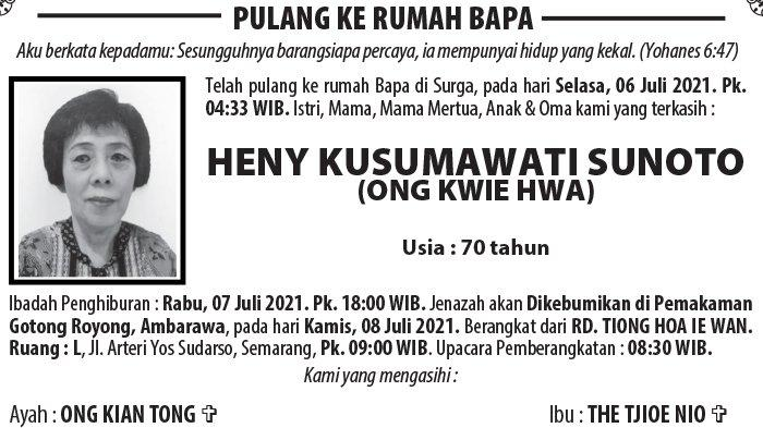 Kabar Duka, Heny Kusumawati Sunoto (Ong Kwie Hwa) Meninggal Dunia di Semarang