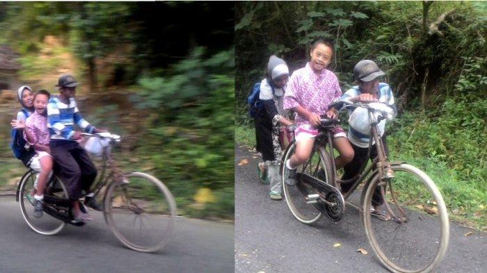 LUAR BIASA! Perjuangan Suami Istri 'Ngontel' Belasan Kilometer, Demi Antar Anaknya Yang Down Syndrom