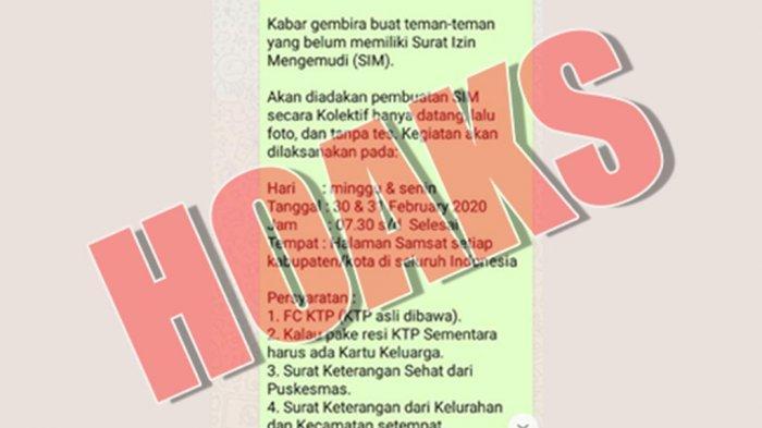 Hoaks Pesan Berantai Whatsapp Info Pembuatan SIM Kolektif, Ini Kata Polda Metro Jaya