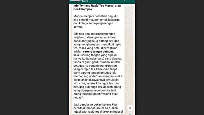 Dinkes Semarang Kena Serangan Hoaks Sarung Tangan Rapid Test Massal Bikin Penularan Virus Corona