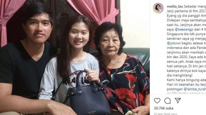 Ibu Felicia Tissue, Meilia Lau terang-terangan mengungkap wanita yang membuat anaknya diputus Kaesang Pangarep.