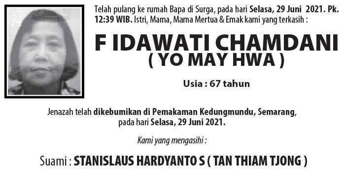Berita Duka, F Idawati Chamdani (Yo May Hwa) Meninggal Dunia di Semarang