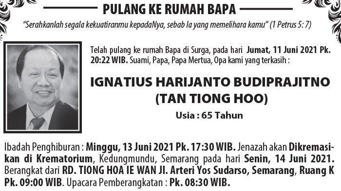 Berita Duka, Ignatius Harijanto Budiprajitno (Tan Tiong Hoo) Meninggal Dunia di Semarang