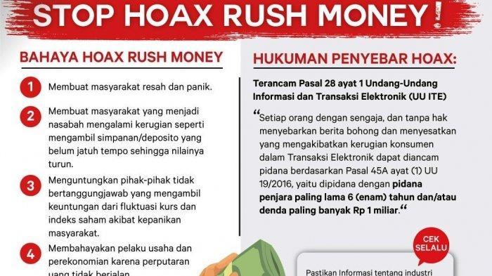 OJK Imbau MasyarakatWaspada Hoax Ajakan Penarikan Dana di Perbankan