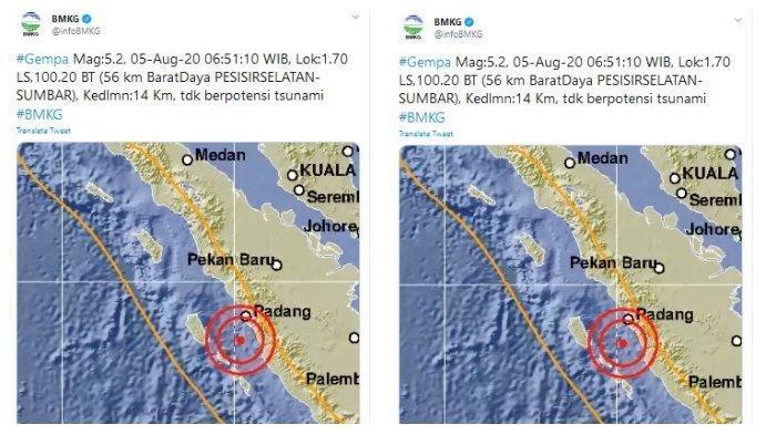 Info Gempa Hari Ini: Sumbar Diguncang Gempa Magnitudo 5.2 Pukul 06:51 WIB