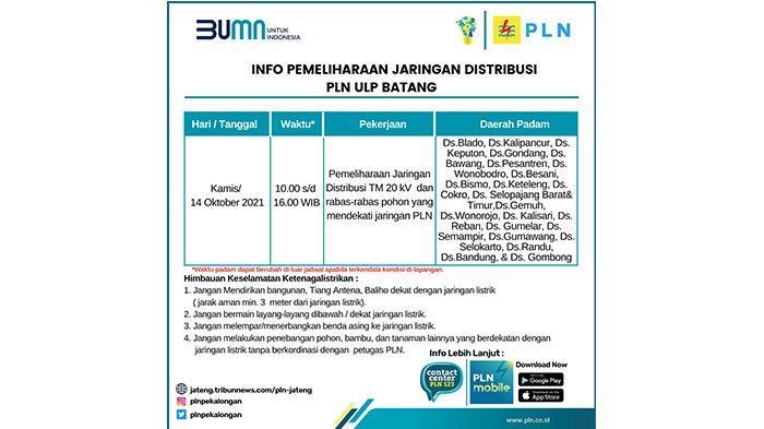 Info Pemeliharaan Jaringan Listrik PLN Batang Kamis 13 Oktober2021