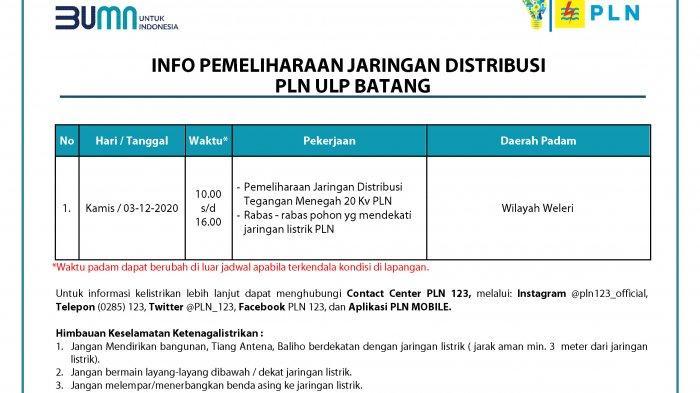 Info Pemeliharaan Jaringan Listrik PLN Batang Kamis 3 Desember 2020