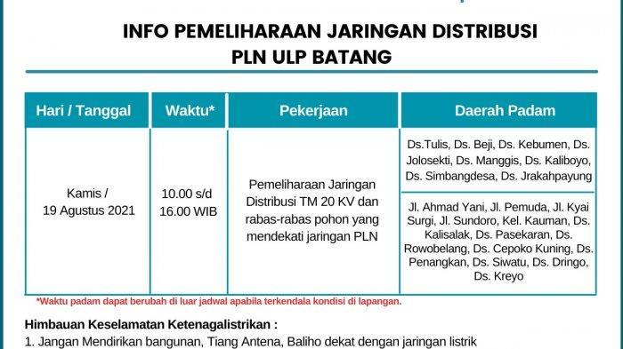 Info Pemeliharaan Jaringan Listrik PLN Batang Kamis 19 Agustus 2021