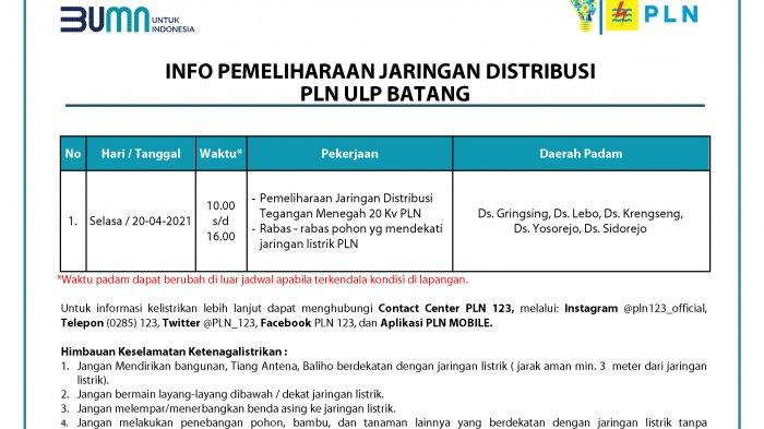 Info Pemeliharaan Jaringan Listrik PLN Batang Selasa 20 April 2021