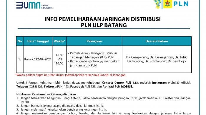 Info Pemeliharaan Jaringan Listrik PLN Batang Kamis 22 April 2021