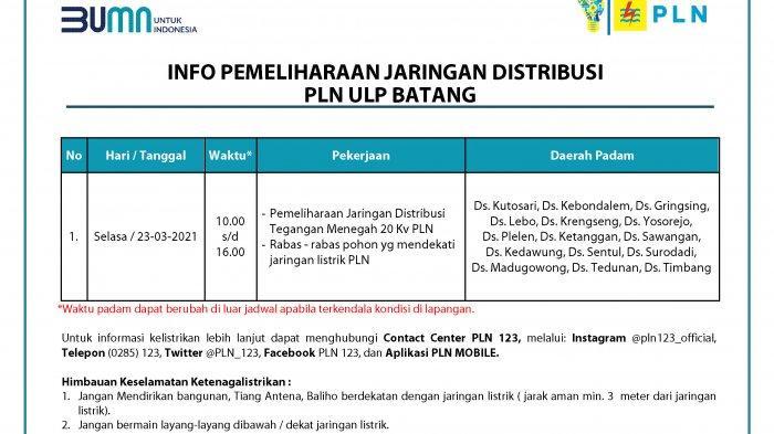 Info Pemeliharaan Listrik Jaringan PLN Batang Selasa 23 Maret 2021