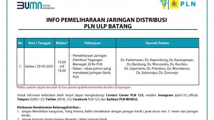 Info Pemeliharaan Jaringan Listrik PLN Batang Selasa 25 Mei 2021