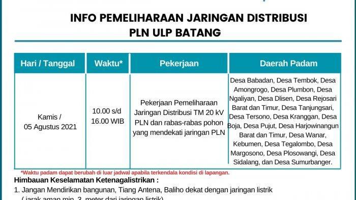 Info Pemeliharaan Jaringan Listrik PLN Batang Kamis 5 Agustus 2021