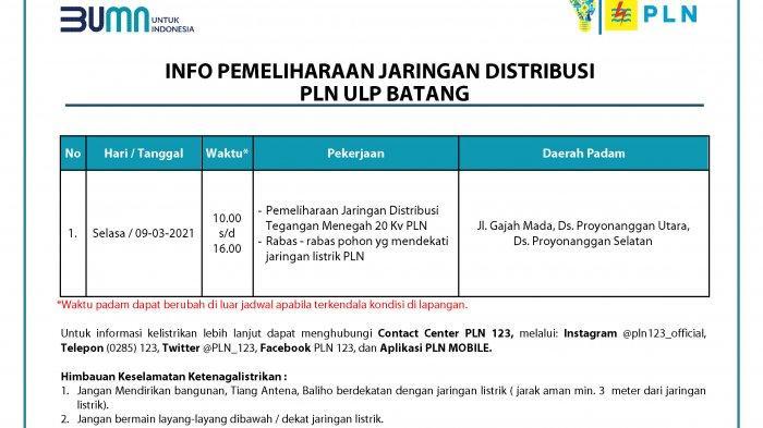 Info Pemeliharaan Jaringan Listrik PLN Batang Selasa 9 Maret 2021