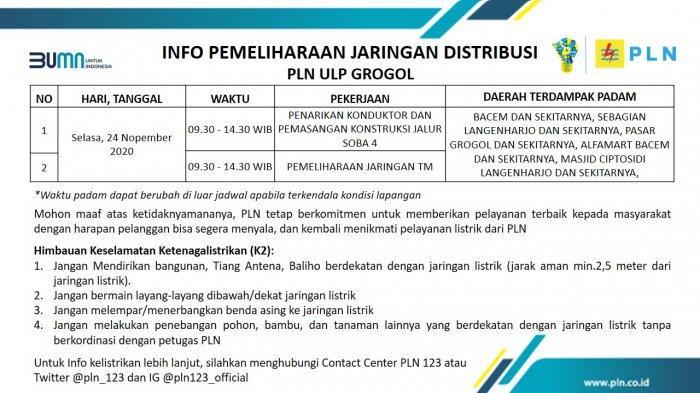 Info Pemeliharaan Jaringan Listrik PLN ULP Sukoharjo Selasa 24 November 2020