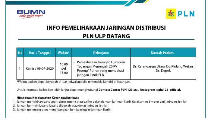 Info Pemeliharaan Jaringan Listrik PLN ULP Batang, Kamis 9 Juli 2020