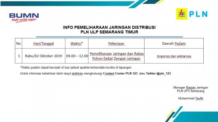 Info Pemeliharaan Jaringan Listrik PLN ULP Boja Hari Ini, Rabu 2 Oktober 2019