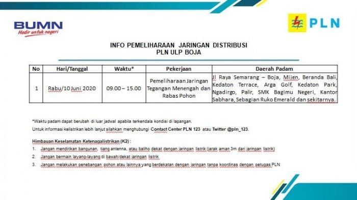 Info Pemeliharaan Jaringan Listrik Mijen PLN ULP Boja, Rabu 10 Juni
