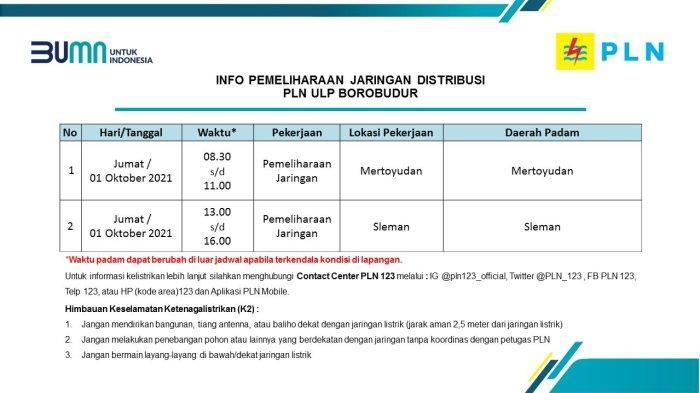 Info Pemeliharaan Jaringan PLN ULP Borobudur 01 Oktober 2021