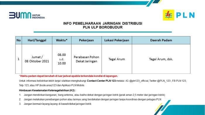 Info Pemeliharaan Jaringan Listrik PLN ULP Borobudur Magelang Jumat 8 Oktober 2021