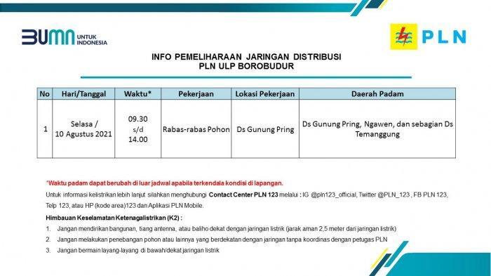 Info Pemeliharaan Jaringan Listrik PLN ULP Borobudur Magelang Selasa 10 Agustus 2021