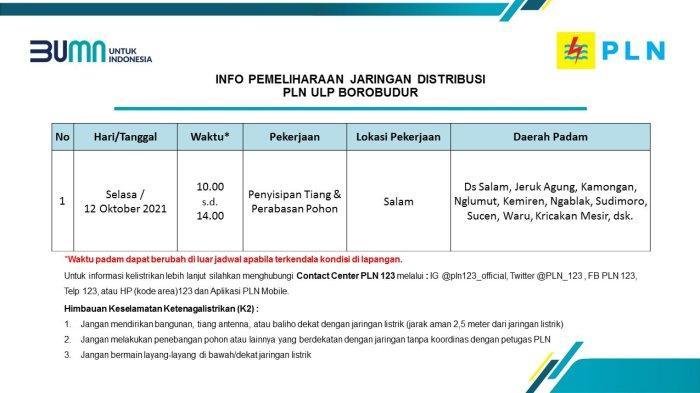 Info Pemeliharaan Jaringan Listrik PLN ULP Borobudur Magelang Selasa 12 Oktober 2021