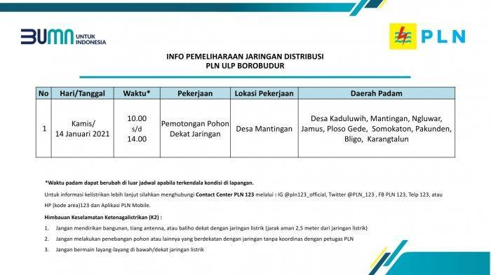 Info Pemeliharaan Jaringan Listrik PLN ULP Borobudur Magelang Kamis 14 Januari 2021