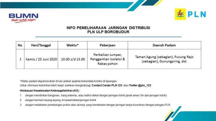 Info Pemeliharaan Jaringan Listrik PLN ULP Borobudur, Kamis 25 Juni 2020