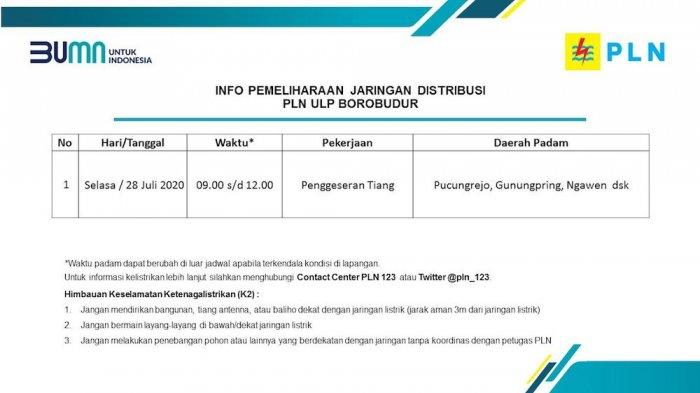 Info Pemeliharaan Jaringan Listrik PLN ULP Borobudur Magelang, Selasa 28 Juli 2020