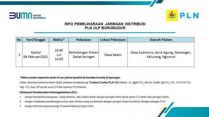 Info Pemeliharaan Jaringan Listrik PLN ULP Borobudur Magelang Kamis 4 Februari 2021