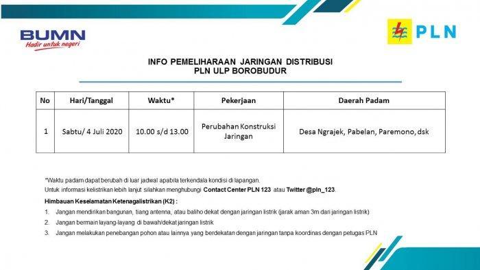 Info Pemeliharaan Jaringan Listrik Ngrajek PLN ULP Borobudur, Kamis 4 Juli 2020